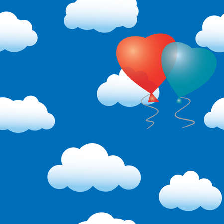 seamless sky: Valentines day abstract seamless background with balloons heart-form. Illustration
