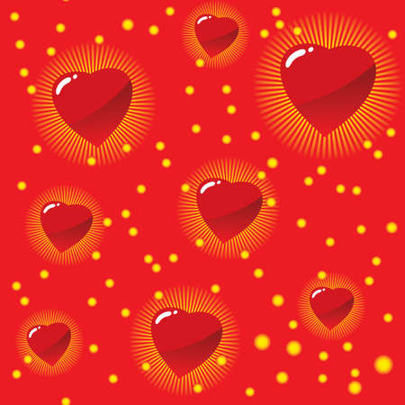 paper background: Valentines day abstract seamless background with red hearts. Vector illustration.