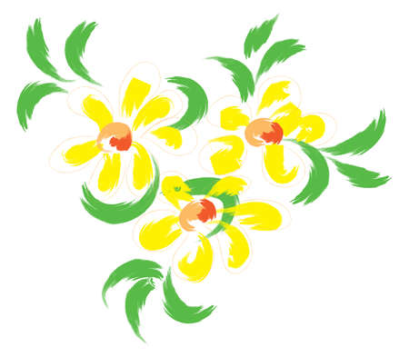 stilllife: Still-life with yellow flowers. Simulated of watercolor. Vector illustration.