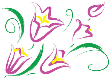 stilllife: Still-life with purple flowers. Simulated of watercolor. Vector illustration. Illustration