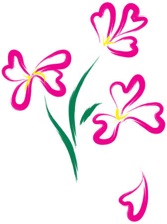 flore: Still-life with pink flowers as heart-form. Simulated of watercolor. Vector illustration.