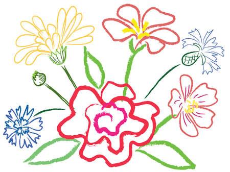 stilllife: Still-life with flowers. Simulated of watercolor. Vector illustration. Illustration