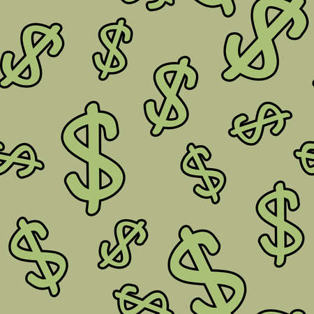 frame less: Abstract seamless pattern with symbols of dollar. Background for your design. Vector illustration.