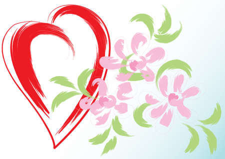 Greeting card with heart and flowers. Simulated of watercolor. Vector illustration. Ilustracja