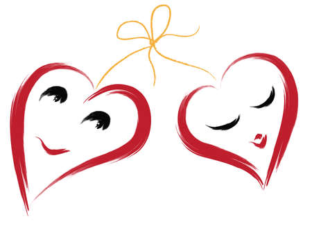 Two smiling hearts. Simulated of watercolor. Vector illustration.