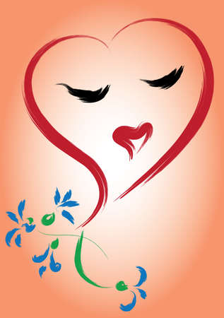 Greeting card with heart and flowers. Simulated of watercolor. Vector illustration. Vector