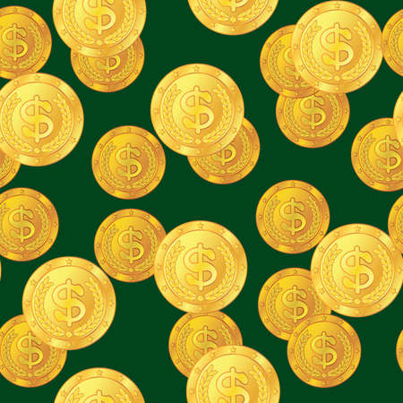 frame less: Abstract seamless pattern with dollar coins. Background for your design. Vector illustration.