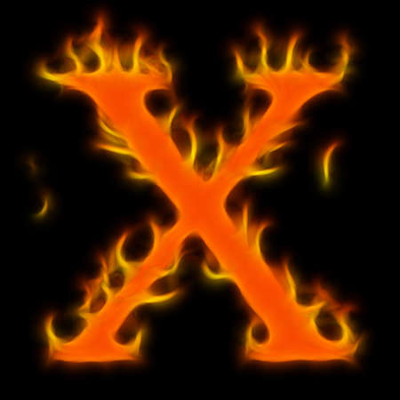 Abstract symbol of alphabet. Flame-simulated on black background. Stock Photo - 6415571