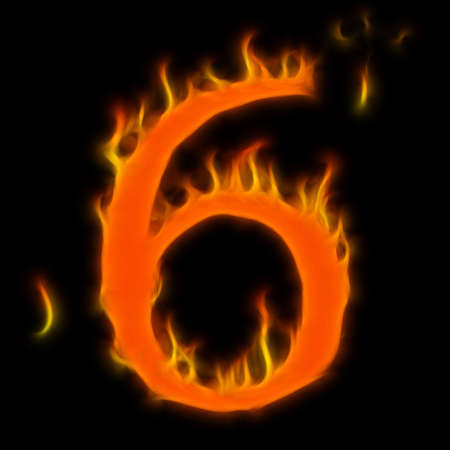 Abstract symbol of alphabet. Flame-simulated on black background. photo