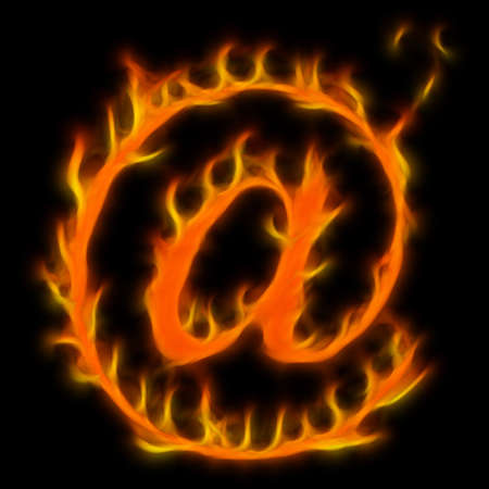 Abstract symbol of AT. Flame-simulated on black background. Stock Photo - 6415567