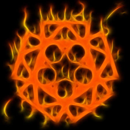 Abstract of mystery pentagram-symbol. Flame-simulated on black background. Stock Photo - 6415574