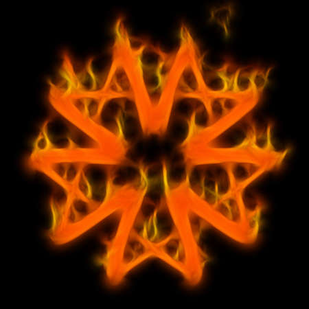 Abstract of mystery pentagram-symbol. Flame-simulated on black background. photo