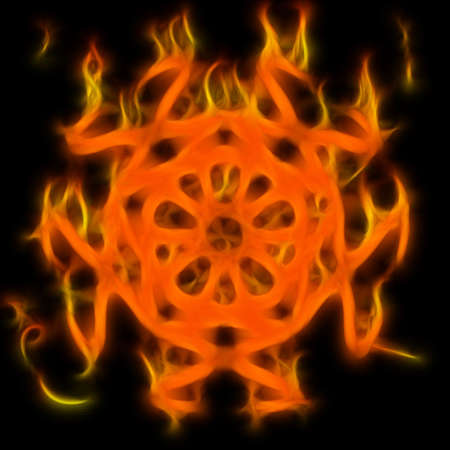 Abstract of mystery pentagram-symbol. Flame-simulated on black background. Stock Photo - 6415575