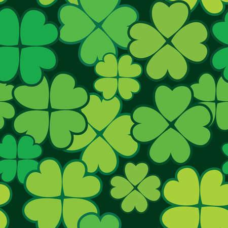 Patricks day abstract seamless background with green clover leaf.  illustration.