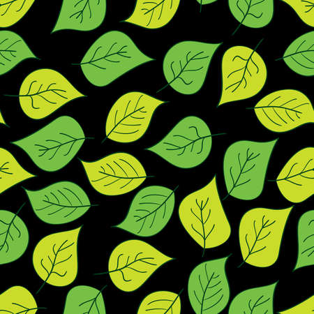 yellow leaves: Abstract background of green leaf. Seamless pattern. illustration.