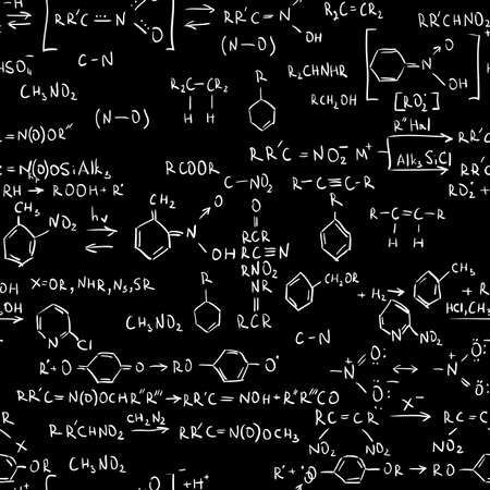 Chemistry formulas. Seamless abstract background.