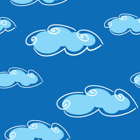 frame less: Abstract day clouds background. Seamless. White - blue palette.