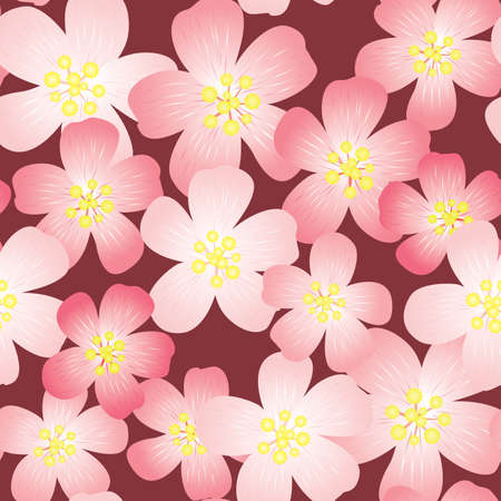 frame less: Abstract cherry-flowers background. Seamless pattern. illustration. Illustration
