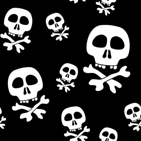 frame less: Abstract background with skulls. Seamless pattern.  illustration.