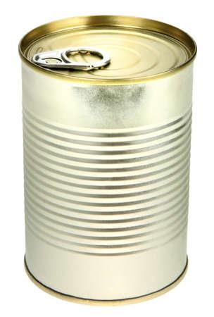 conservacion alimentos: Metal solo puede. Close-up. Aislado sobre fondo blanco.  Foto de archivo