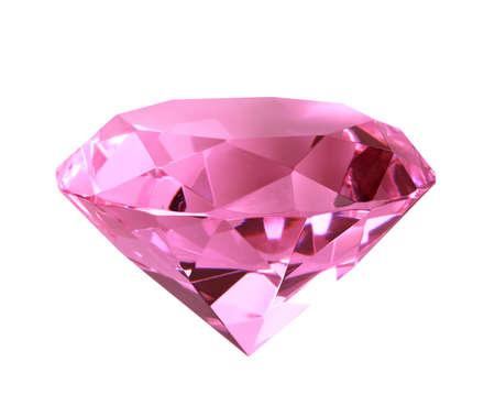bijoux diamant: Diamant de cristal que Rose. Gros plan. Isol� sur fond blanc  Banque d'images