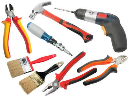 hardware: Conjunto de herramientas de mano. Aislado sobre fondo blanco. Close-up.