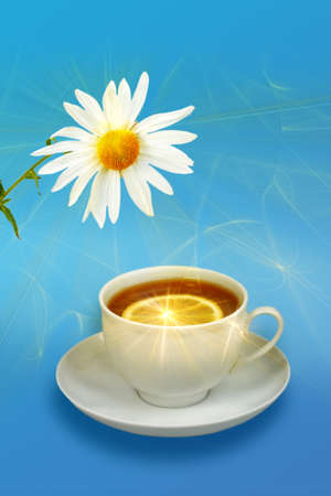 Still-life with lemon-tea and white flowers on blue background. Stock Photo - 7124010
