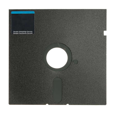 Single 5.25&quot, Floppy Disk. Isolated on white. Close-up.  photo