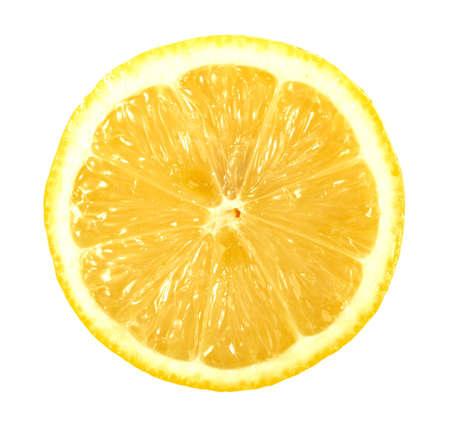 Single cross section of lemon. Isolated on white background. Close-up.