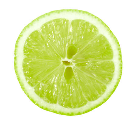 limon: Single cross section of lime. Isolated on white background. Close-up.