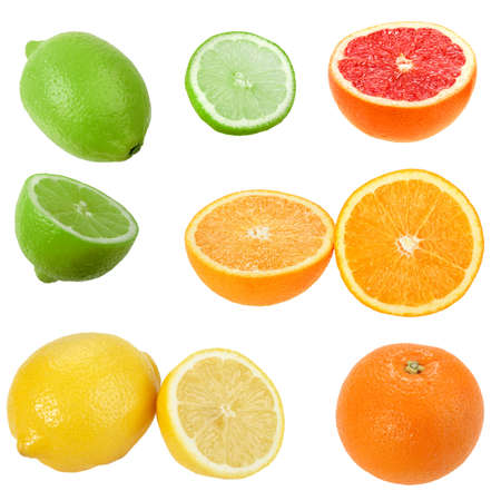 Set of citrus fruits. Isolated on white background. Close-up.