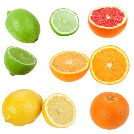 Set of citrus fruits. Isolated on white background. Close-up.