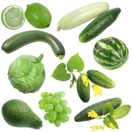 Set of green fruits and vegetables. Isolated on white background. Close-up.  photo