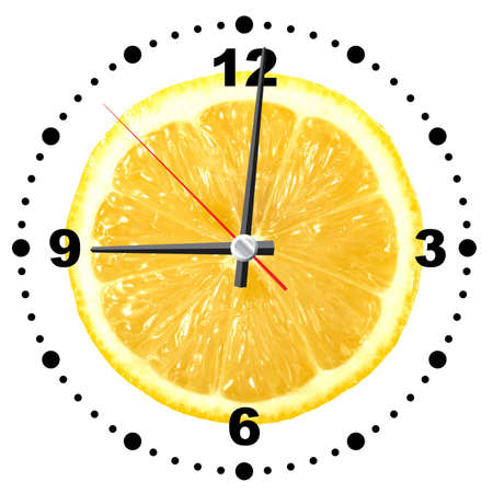 limon: Single cross section of lemon as a office clock. Isolated on white background. Close-up. Studio photography. Stock Photo