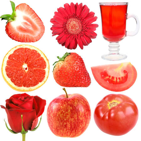 Set of red fruits, vegetables and flowers. Isolated on white background. Close-up. Studio photography.