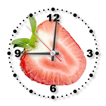 Single cross section of red strawberry as a office clock. Isolated on white background. Close-up.  photo