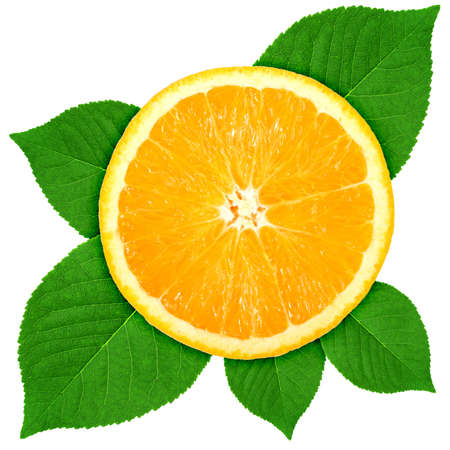 Single cross section of orange with green leaf. Isolated on white background. Close-up. Stock Photo - 7307113
