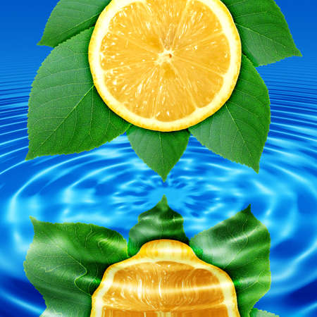 Abstract background of a reflect lemon-slice and green leaf in blue water. Close-up. Stock Photo - 7320297