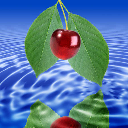 Reflection of a branch with green leaf and red cherry in water. Close-up.  Stock Photo - 7425726