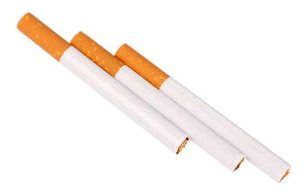 injurious: Tres cigarrillos con filtro. Aislados sobre fondo blanco.  Foto de archivo