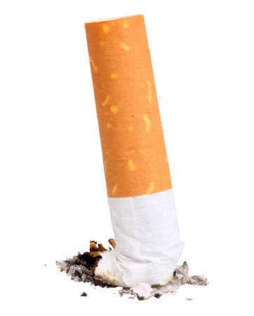 Single cigarette butt with ash. Close-up.