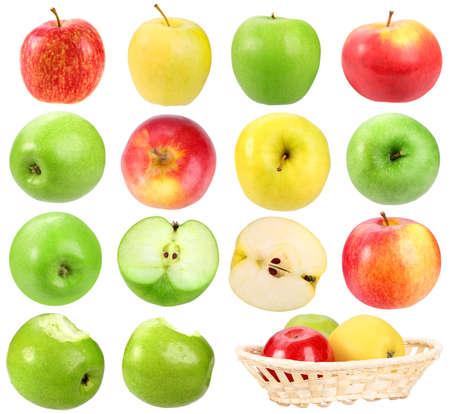 canastas con frutas: Conjunto de manzanas. Aislados sobre fondo blanco. Close-up.