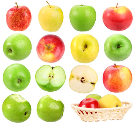 yellow apple: Set of apples. Isolated on white background. Close-up.