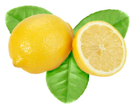 Full and cross section of yellow lemon with green leaf. Isolated on white background. Close-up.