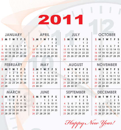 Calendar grid of 2011 year with light abstract graphics on background for your design. English variant.  illustration. Vector