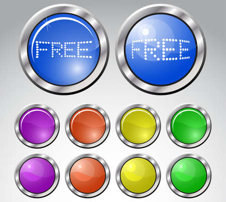 Set of multicolored glasses round buttons with metallic frame.   illustration. Vector