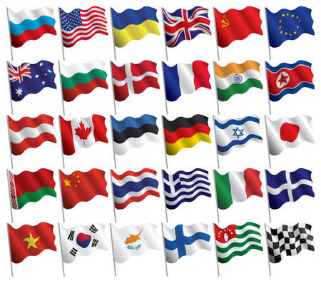 Финляндия: Set of flags with waves and gradients on white background for your design.  illustration. Иллюстрация