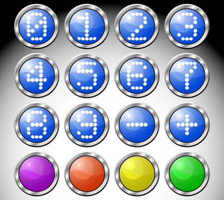 Set of multicolored glasses round buttons with digits-symbols in metallic frame. illustration. Vector