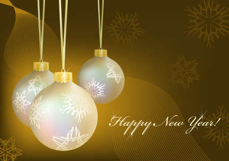Three golden christmas-balls with snowflakes on abstract dark background. Greeting card.  illustration. Gradient mesh include.