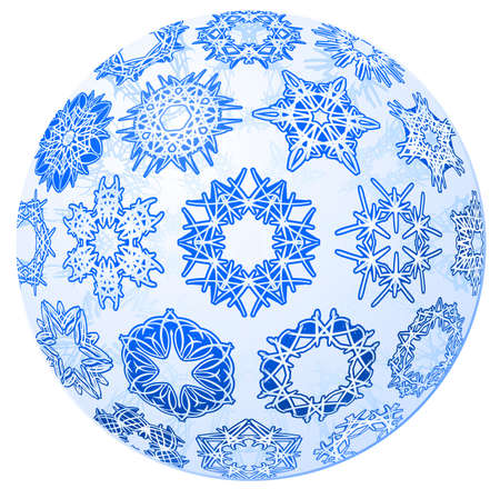 Single blue transparent christmas-ball with snowflakes.    illustration. Vector